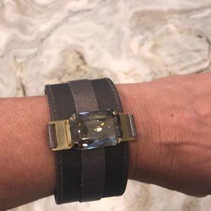 Grey leather cuff